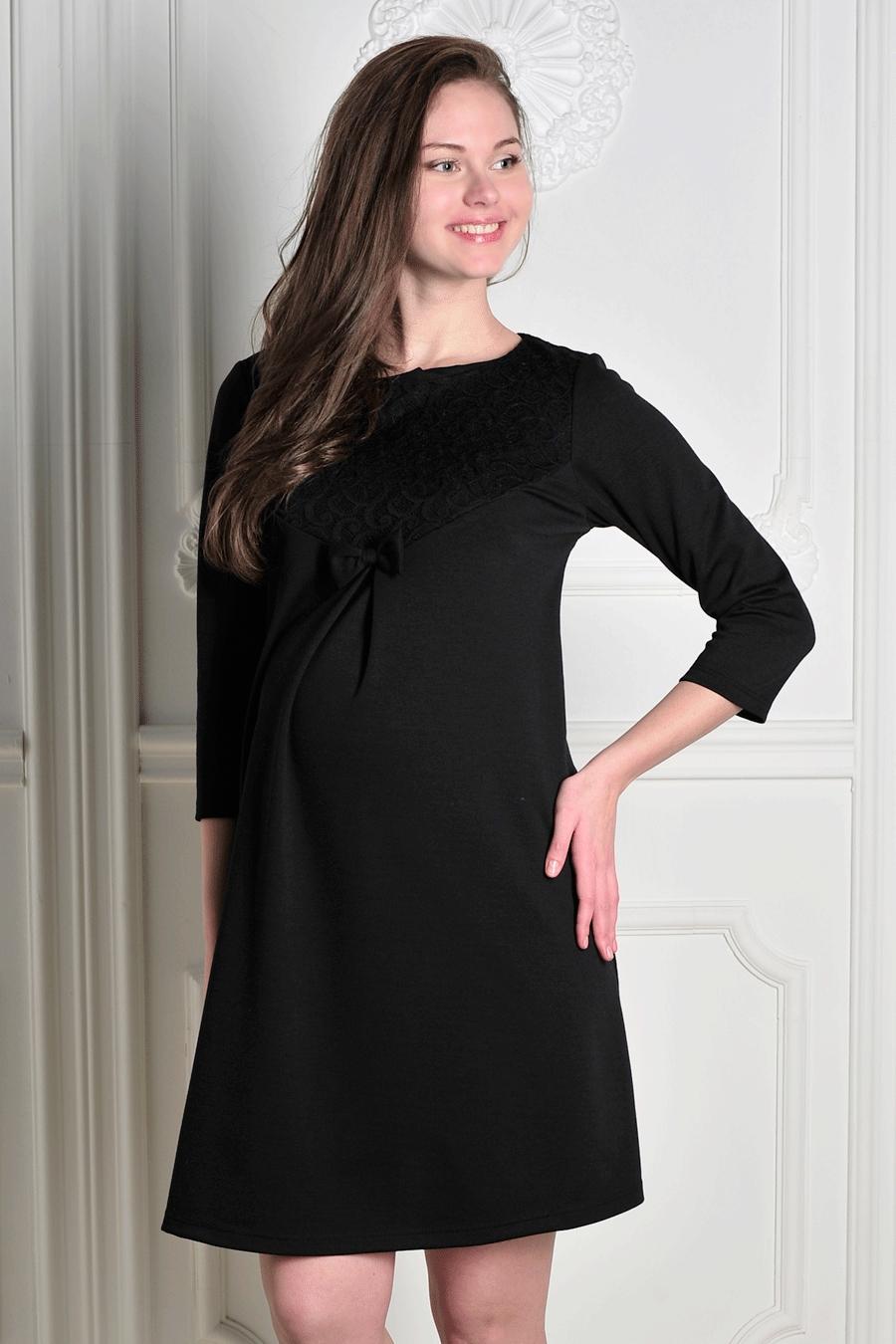 ПлатьеПлатья для будущих мам<br>Однотоннон платье с рукавами 3/4. Модель выполнена из приятного трикотажа. Отличный выбор для повседневного гардероба. Ростовка изделия 170-176 см.  За счет свободного кроя и эластичного материала изделие можно носить во время беременности  Цвет: черный  Рост девушки-фотомодели 170 см<br><br>Горловина: С- горловина<br>По длине: До колена<br>По материалу: Трикотаж,Гипюр<br>По рисунку: Однотонные<br>По силуэту: Полуприталенные<br>По стилю: Нарядный стиль,Повседневный стиль<br>По элементам: С декором,Со складками<br>Рукав: Рукав три четверти<br>По сезону: Осень,Весна,Зима<br>Размер : 44,46,48<br>Материал: Джерси + Гипюр<br>Количество в наличии: 3