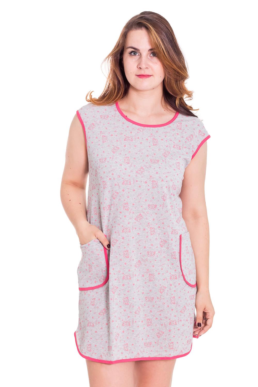 ПлатьеПлатья<br>Хлопковое платье с круглой горловиной и двумя карманами. Домашняя одежда, прежде всего, должна быть удобной, практичной и красивой. В платье Вы будете чувствовать себя комфортно, особенно, по вечерам после трудового дня.  Цвет: серый, розовый  Рост девушки-фотомодели 180 см<br><br>По стилю: Повседневные<br>По материалу: Трикотажные,Хлопковые<br>По рисунку: Цветные<br>По сезону: Лето<br>По силуэту: Свободные<br>По элементам: Без рукавов,С карманами<br>По форме: Платья<br>По длине: Мини<br>Горловина: С- горловина<br>Бретели: Широкие бретели<br>Размер: 54,60<br>Материал: 95% хлопок 5% полиэстер<br>Количество в наличии: 7