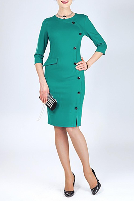 ПлатьеПлатья<br>Однотонное платье с круглой горловиной и рукавами 3/4. Модель выполнена из плотного трикотажа. Отличный выбор для любого случая.   Цвет: зеленый  Ростовка изделия 170 см.  Параметры (обхват груди; обхват талии; обхват бедер): 44 размер - 88; 66,4; 96 см 46 размер - 92; 70,6; 100 см 48 размер - 96; 74,2; 104 см 50 размер - 100; 90; 106 см 52 размер - 104; 94; 110 см 54-56 размер - 108-112; 98-102; 114-118 см 58-60 размер - 116-120; 106-110; 124-130 см<br><br>Горловина: С- горловина<br>По длине: До колена<br>По материалу: Трикотаж<br>По рисунку: Однотонные<br>По силуэту: Приталенные<br>По стилю: Повседневный стиль<br>По форме: Платье - футляр<br>По элементам: С декором<br>Рукав: Рукав три четверти<br>По сезону: Осень,Весна<br>Размер : 46<br>Материал: Трикотаж<br>Количество в наличии: 1
