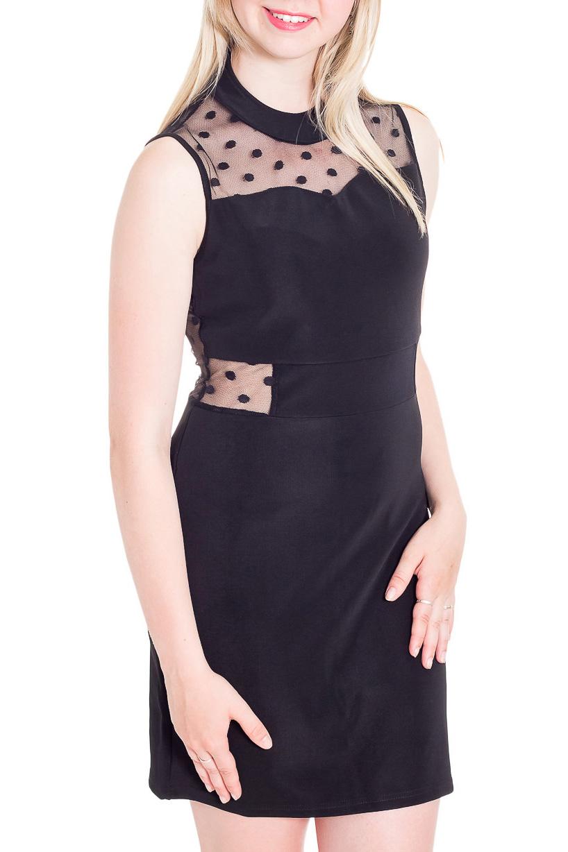 ПлатьеПлатья<br>Шикарное женское платье приталенного силуэта с гипюровой спинкой. В этом платье Вы не останетесь незамеченной.  Цвет: черный.  Рост девушки-фотомодели 170 см<br><br>Воротник: Стойка<br>По длине: До колена<br>По материалу: Гипюровая сетка,Кружево,Тканевые<br>По рисунку: Однотонные,В горошек,С принтом<br>По сезону: Весна,Зима,Лето,Осень,Всесезон<br>По силуэту: Приталенные<br>По стилю: Нарядный стиль<br>По форме: Платье - футляр<br>По элементам: С декором,С подкладом<br>Рукав: Без рукавов<br>Размер : 40,42,44,46<br>Материал: Трикотаж + Гипюровая сетка<br>Количество в наличии: 4