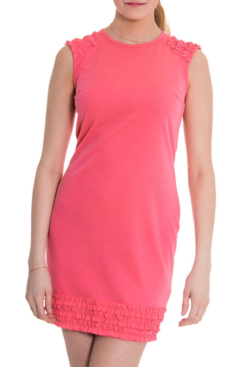 ПлатьеПлатья<br>Женское платье без рукавов с круглой горловиной. Модель выполнена из плотного трикотажа. Отличный выбор для повседневного гардероба.Цвет: розовыйРост девушки-фотомодели 176 см<br><br>Горловина: С- горловина<br>Рукав: Без рукавов<br>Материал: Трикотаж<br>Рисунок: Однотонные<br>Сезон: Весна,Лето<br>Силуэт: Полуприталенные<br>Стиль: Молодежный стиль,Повседневный стиль,Романтический стиль,Летний стиль<br>Форма: Платье - футляр<br>Длина: До колена<br>Элементы: С декором,С воланами и рюшами<br>Размер : 44<br>Материал: Трикотаж<br>Количество в наличии: 1