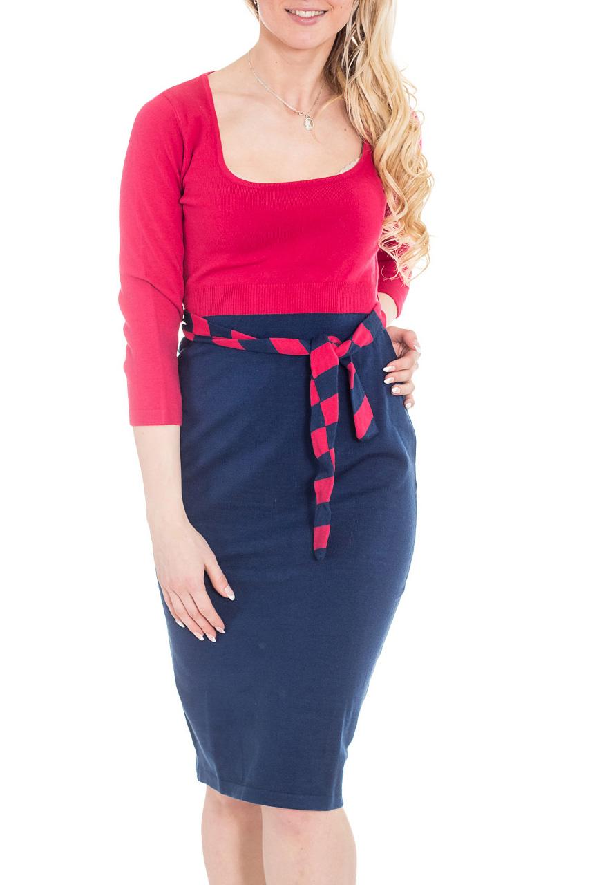ПлатьеПлатья<br>Вязаное платье-костюм. Сочные цвета пряжи специально подобраны для молодежных моделей. Удобная длина рукава 3/4 делает это платье очень привлекательным как вариант будничной одежды. Платье без пояса.  Цвет: синий, малиновый  Рост девушки-фотомодели 170 см.<br><br>Горловина: Квадратная горловина<br>По длине: Ниже колена<br>По материалу: Трикотаж<br>По рисунку: Цветные<br>По силуэту: Приталенные<br>По стилю: Повседневный стиль<br>По форме: Платье - футляр,Платье - карандаш<br>Рукав: Рукав три четверти<br>По сезону: Осень,Весна,Зима<br>По элементам: С декором,С завязками<br>Размер : 42,44,46<br>Материал: Трикотаж<br>Количество в наличии: 3