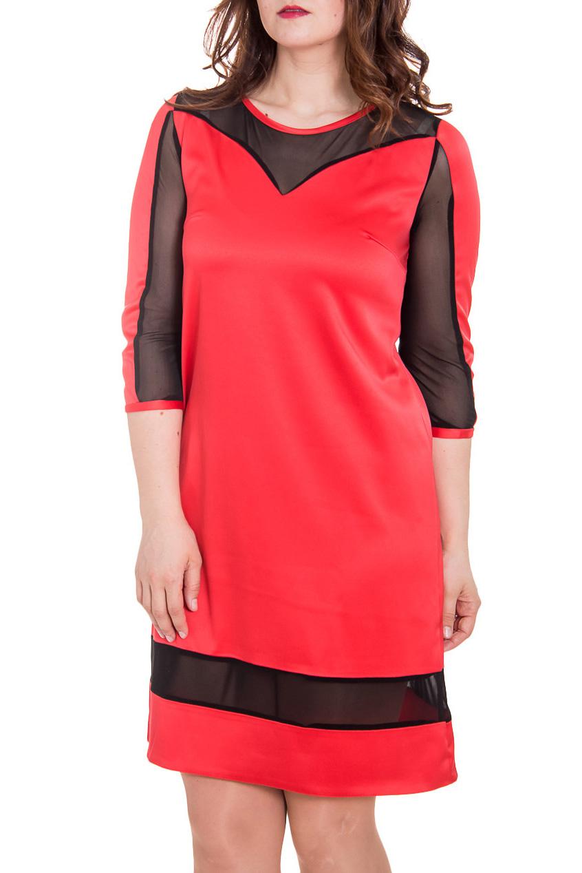 ПлатьеПлатья<br>Повседневно-нарядное платье прекрасно подойдет как для праздника, так и для романтичной встречи. В этом платье Вы будете выглядеть очаровательно.  Цвет: кораллово-красный, черный.  Рост девушки-фотомодели 180 см<br><br>Горловина: С- горловина<br>По длине: До колена<br>По материалу: Атлас,Гипюровая сетка<br>По рисунку: Цветные<br>По сезону: Весна,Зима,Лето,Осень,Всесезон<br>По силуэту: Полуприталенные,Прямые<br>По стилю: Нарядный стиль<br>По форме: Платье - футляр<br>По элементам: С декором<br>Рукав: Рукав три четверти<br>Размер : 46,48,56<br>Материал: Атлас + Гипюр<br>Количество в наличии: 3