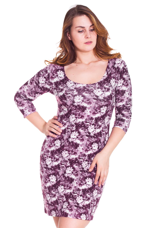 ПлатьеПлатья<br>Красивое платье с круглой горловиной и рукавами 3/4. Модель выполнена из приятного трикотажа. Отличный выбор для повседневного гардероба  Цвет: фиолетовый, белый  Рост девушки-фотомодели 180 см<br><br>Горловина: С- горловина<br>По длине: До колена<br>По материалу: Вискоза,Трикотаж<br>По образу: Город,Свидание<br>По рисунку: Растительные мотивы,Цветные,Цветочные<br>По сезону: Весна,Осень<br>По силуэту: Полуприталенные<br>По стилю: Повседневный стиль<br>По форме: Платье - футляр<br>Рукав: Рукав три четверти<br>Размер : 48,50,52,54<br>Материал: Трикотаж<br>Количество в наличии: 1