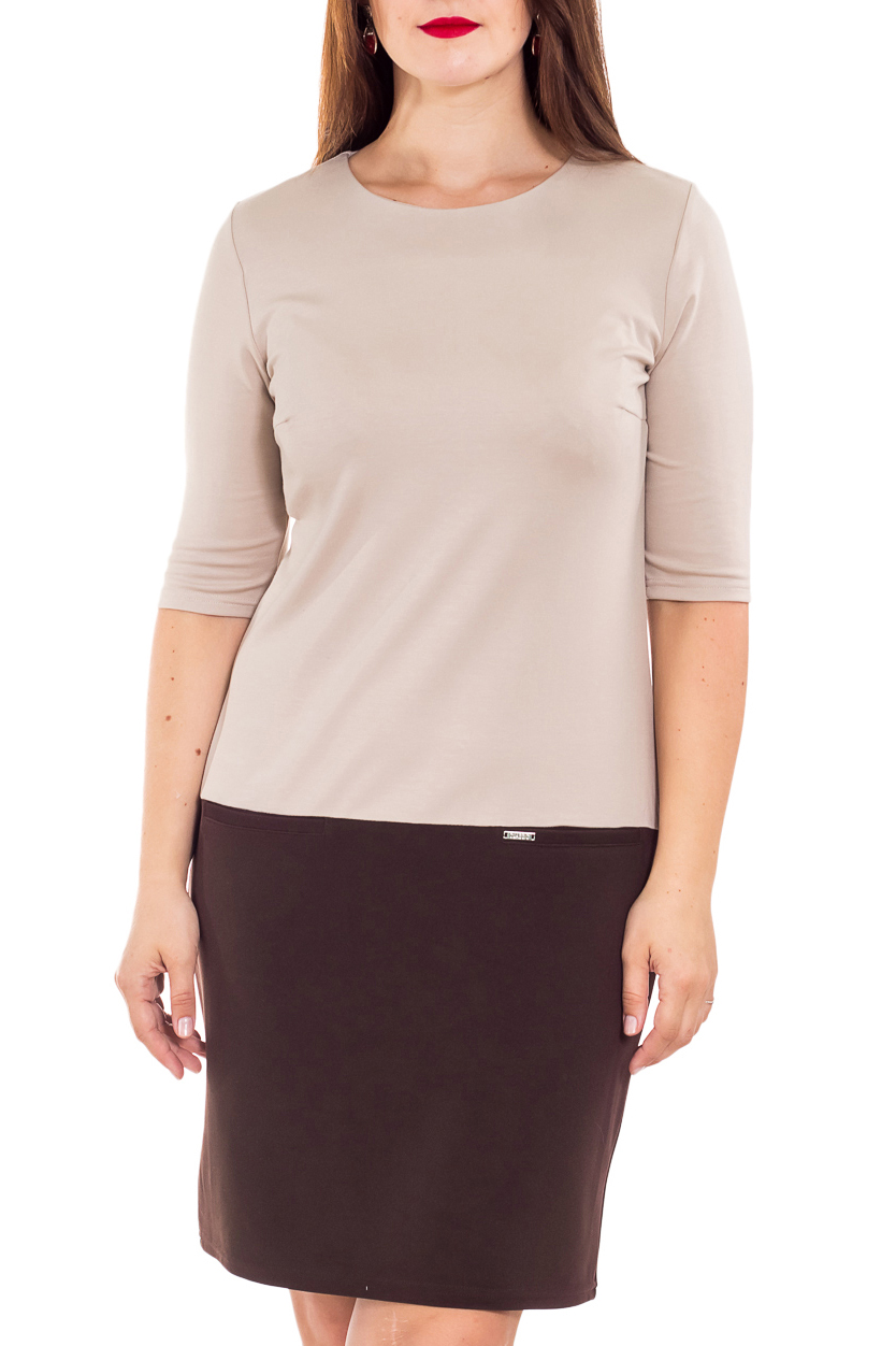 ПлатьеПлатья<br>Изумительное женское платье с круглой горловиной и рукавами 3/4. Модель выполнена из приятного материала. Отличный выбор для любого случая.  В изделии использованы цвета: бежевый, коричневый  Рост девушки-фотомодели 180 см.<br><br>Горловина: С- горловина<br>По длине: До колена<br>По материалу: Вискоза,Трикотаж<br>По образу: Город,Офис<br>По рисунку: Цветные<br>По силуэту: Приталенные<br>По стилю: Офисный стиль,Повседневный стиль<br>По форме: Платье - футляр<br>Рукав: Рукав три четверти<br>По сезону: Осень,Весна<br>Размер : 46,48,50,52,54<br>Материал: Джерси<br>Количество в наличии: 5