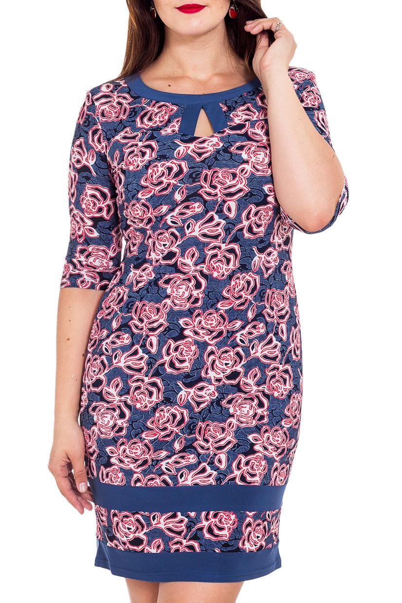 ПлатьеПлатья<br>Эффектное женское платье с короткими рукавами. Модель выполнена из мягкого трикотажа. Отличный вариант для повседневного гардероба.  В изделии использованы цвета: сине-голубой, розовый и др.  Рост девушки-фотомодели 180 см<br><br>Горловина: С- горловина<br>По длине: До колена<br>По материалу: Вискоза,Трикотаж<br>По образу: Город,Свидание<br>По рисунку: Растительные мотивы,С принтом,Цветные,Цветочные<br>По силуэту: Полуприталенные<br>По стилю: Повседневный стиль<br>По форме: Платье - футляр<br>По элементам: С вырезом,С разрезом<br>Разрез: Короткий<br>Рукав: До локтя<br>По сезону: Осень,Весна,Зима<br>Размер : 48,50,52,56<br>Материал: Трикотаж<br>Количество в наличии: 7