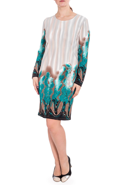 ПлатьеПлатья<br>Цветное платье с круглой горловиной и длинными рукавами. Модель выполнена из плотного трикотажа. Отличный выбор для повседневного гардероба.  В изделии использованы цвета: серый, бежевый, бирюзовый и др.  Рост девушки-фотомодели 180 см.<br><br>Горловина: С- горловина<br>По длине: До колена<br>По материалу: Трикотаж<br>По рисунку: Рептилия,С принтом,Цветные<br>По силуэту: Полуприталенные<br>По стилю: Повседневный стиль<br>По форме: Платье - футляр<br>Рукав: Длинный рукав<br>По сезону: Зима<br>Размер : 54,56,58<br>Материал: Трикотаж<br>Количество в наличии: 3