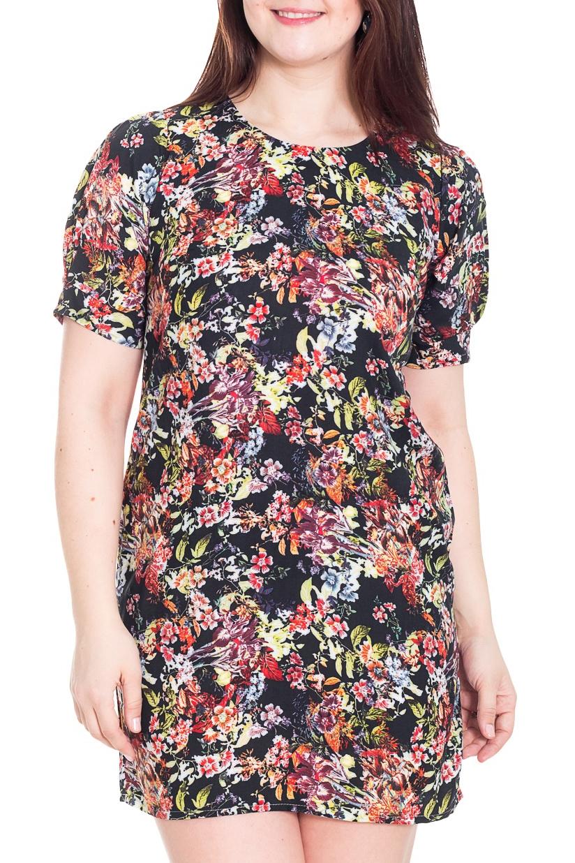 ПлатьеПлатья<br>Замечательное платье с круглой горловиной и короткими рукавами фонарик. Модель выполнена из приятного материала. Отличный выбор для повседневного гардероба.  Цвет: черный, розовый, сиреневый, оранжевый, коралловый  Рост девушки-фотомодели 180 см.<br><br>Горловина: С- горловина<br>По длине: Мини<br>По материалу: Тканевые<br>По рисунку: Растительные мотивы,С принтом,Цветные,Цветочные<br>По сезону: Весна,Осень<br>По силуэту: Полуприталенные<br>По стилю: Повседневный стиль<br>По форме: Платье - футляр<br>Рукав: Короткий рукав<br>Размер : 50,56<br>Материал: Плательная ткань<br>Количество в наличии: 2