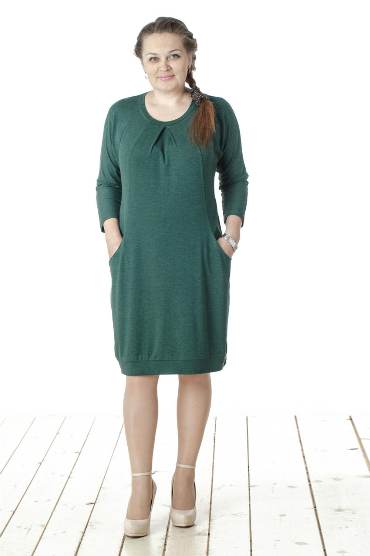 ПлатьеПлатья<br>Привлекательное женское платье с круглой горловиной и длинными рукавами. Модель выполнена из мягкого трикотажа. Отличный выбор для повседневного и делового гардероба.  Цвет: зеленый  Длина изделия 89 см  Длина рукава 55 см   Рост девушки-фотомодели 165 см<br><br>Горловина: С- горловина<br>По длине: До колена<br>По материалу: Вискоза,Трикотаж<br>По образу: Город,Офис,Свидание<br>По рисунку: Однотонные<br>По сезону: Весна,Осень<br>По силуэту: Свободные<br>По стилю: Офисный стиль,Повседневный стиль<br>По элементам: С декором,С карманами,Со складками<br>Разрез: Длинный<br>Размер : 46,48,50,52,54,56,58<br>Материал: Трикотаж<br>Количество в наличии: 7
