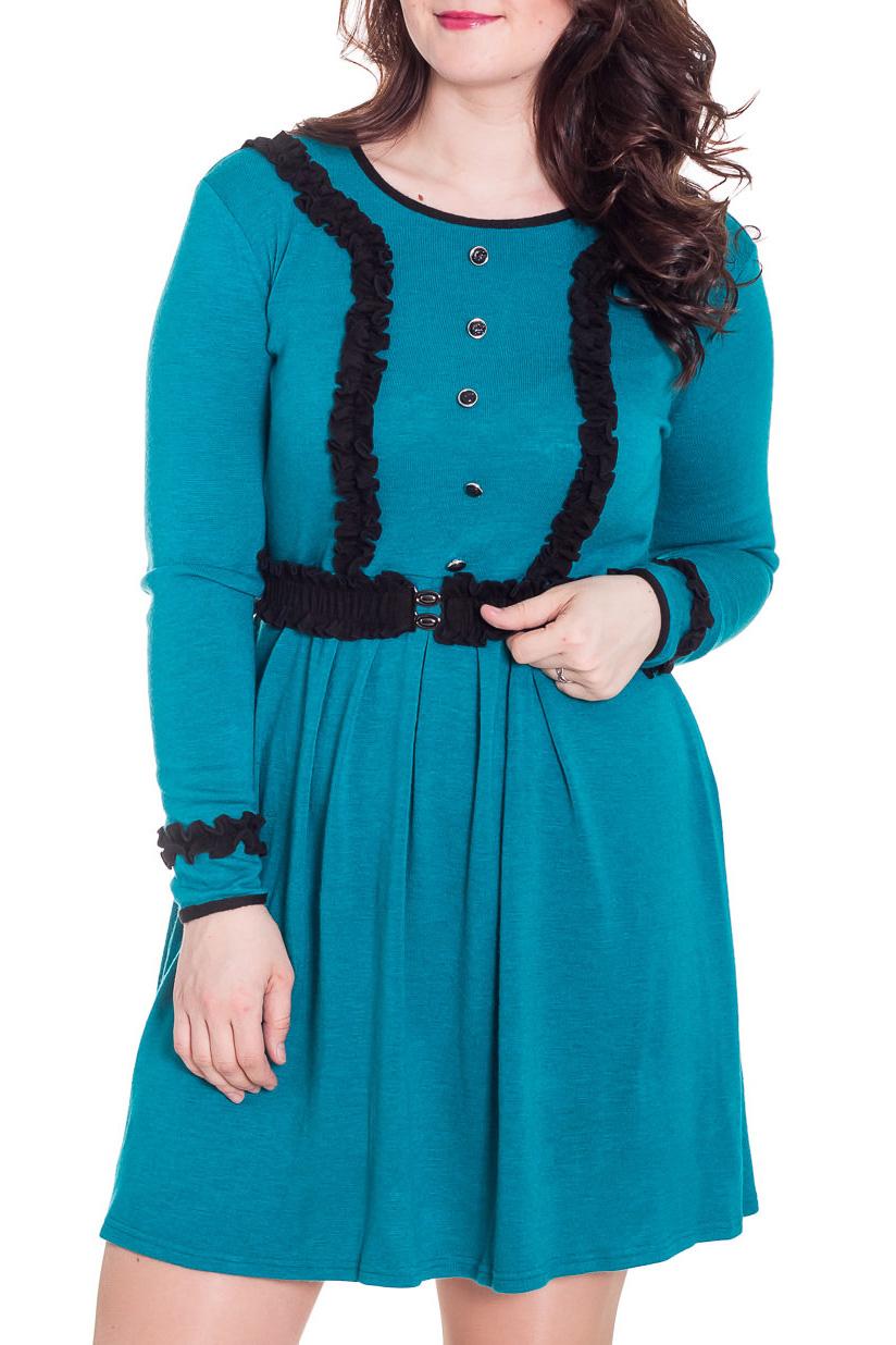 ПлатьеПлатья<br>Однотонное платье с контрастной отделкой. Модель выполнена из приятного трикотажа. Отличный выбор для повседневного гардероба. Платье без пояса.  Цвет: темно-бирюзовый, черный  Рост девушки-фотомодели 180 см<br><br>Горловина: С- горловина<br>По длине: До колена<br>По материалу: Трикотаж<br>По образу: Город,Свидание<br>По рисунку: Однотонные<br>По сезону: Зима,Осень,Весна<br>По силуэту: Полуприталенные<br>По стилю: Повседневный стиль<br>По элементам: С декором<br>Рукав: Длинный рукав<br>Размер : 50<br>Материал: Трикотаж<br>Количество в наличии: 1