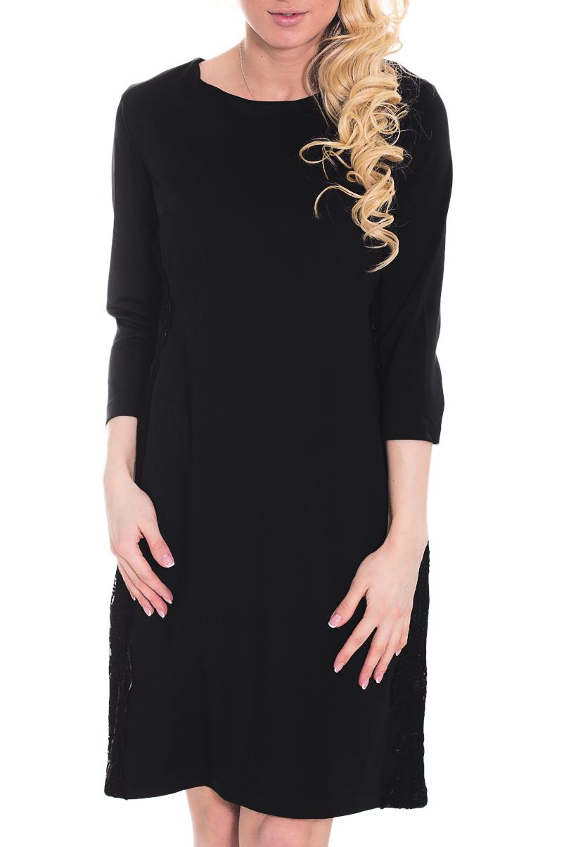ПлатьеПлатья<br>Шикарное женское платье из изысканной плательной ткани. Сзади металлическая молния по всей длинне спинки. По бокам изделие украшено черным кружевом.  Цвет: черный.  Рост девушки-фотомодели 170 см<br><br>Горловина: С- горловина<br>По длине: До колена<br>По материалу: Тканевые<br>По рисунку: Однотонные<br>По сезону: Зима,Осень,Весна<br>По силуэту: Полуприталенные<br>По стилю: Классический стиль<br>По элементам: С декором,С молнией,С отделочной фурнитурой<br>Рукав: Рукав три четверти<br>Размер : 44,46,48<br>Материал: Плательная ткань<br>Количество в наличии: 4