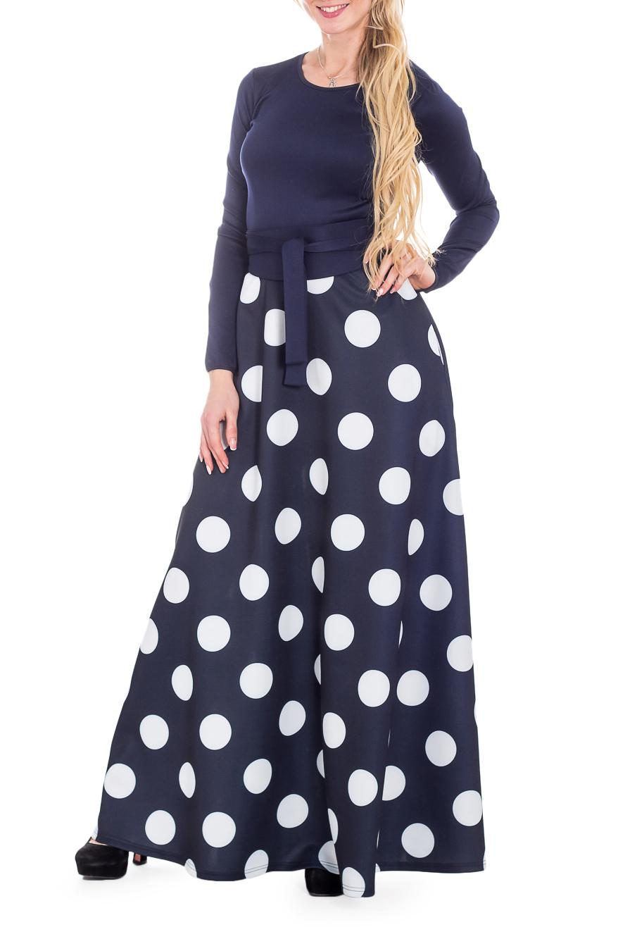 ПлатьеПлатья<br>Эффектное платье в пол. Модель выполнена из мягкого трикотажа. Отличный выбор для любого случая. Платье без пояса.   В изделии использованы цвета: синий, белый  Рост девушки-фотомодели 170 см.<br><br>Горловина: С- горловина<br>По длине: Макси<br>По материалу: Вискоза,Трикотаж<br>По рисунку: В горошек,С принтом,Цветные<br>По сезону: Зима,Осень,Весна<br>По силуэту: Приталенные<br>По стилю: Нарядный стиль,Повседневный стиль<br>По форме: Платье - трапеция<br>Рукав: Длинный рукав<br>Размер : 44<br>Материал: Трикотаж<br>Количество в наличии: 1
