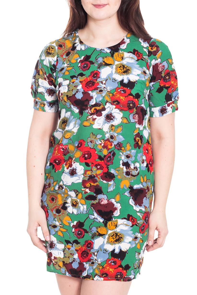 ПлатьеПлатья<br>Замечательное платье с круглой горловиной и короткими рукавами фонарик. Модель выполнена из приятного материала. Отличный выбор для повседневного гардероба.  Цвет: зеленый, красный, коричневый, белый, желтый  Рост девушки-фотомодели 180 см.<br><br>Горловина: С- горловина<br>По длине: Мини<br>По материалу: Тканевые<br>По рисунку: Растительные мотивы,С принтом,Цветные,Цветочные<br>По сезону: Весна,Осень<br>По силуэту: Полуприталенные<br>По стилю: Повседневный стиль<br>По форме: Платье - футляр<br>Рукав: Короткий рукав<br>Размер : 52,54,56<br>Материал: Плательная ткань<br>Количество в наличии: 3