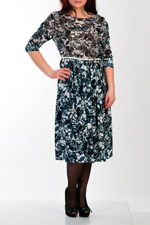 ПлатьеПлатья<br>Женское платье в романтическом стиле, юбка и рукав на сборке. Модель выполнена из приятного трикотажа и воздушного шифона. Отличный выбор для повседневного гардероба.  Рост девушки-фотомодели 162 см  Цвет: белый, серый, синий<br><br>Горловина: С- горловина<br>По длине: Ниже колена<br>По материалу: Трикотаж,Шифон<br>По рисунку: Абстракция,Цветные<br>По сезону: Весна,Осень<br>По силуэту: Полуприталенные<br>По стилю: Повседневный стиль<br>Рукав: Рукав три четверти<br>Размер : 46<br>Материал: Холодное масло + Шифон<br>Количество в наличии: 1