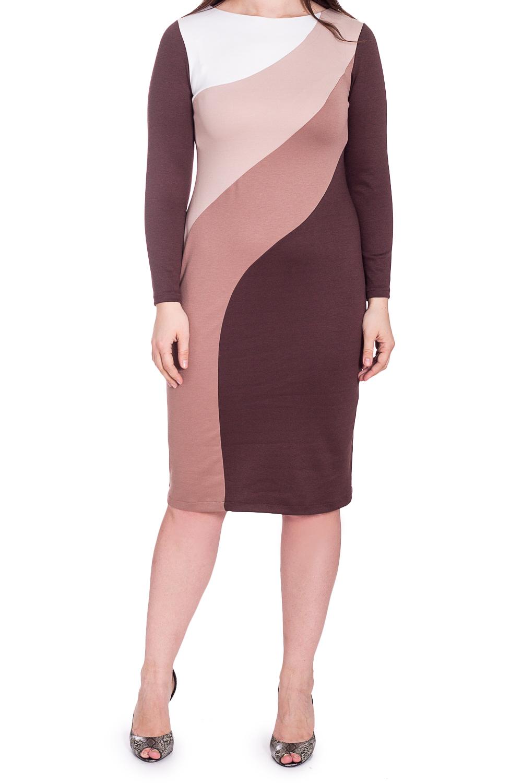 ПлатьеПлатья<br>Женское платье прилегающего силуэта с круглой горловиной и длинными рукавами. Модель станет прекрасной составляющей Вашего повседневного гардероба. Ростовка изделия 164 см.  В изделии использованы цвета: коричневый, бежевый  Рост девушки-фотомодели 180 см<br><br>Горловина: С- горловина<br>По длине: До колена<br>По материалу: Вискоза,Трикотаж<br>По рисунку: Цветные<br>По силуэту: Полуприталенные<br>По стилю: Повседневный стиль<br>По форме: Платье - футляр<br>По элементам: С разрезом<br>Разрез: Короткий,Шлица<br>Рукав: Длинный рукав<br>По сезону: Зима<br>Размер : 48,50,52<br>Материал: Трикотаж<br>Количество в наличии: 3