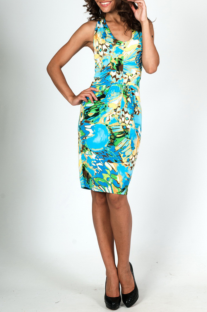 ПлатьеПлатья<br>Цветное летнее платье с закругленной горловиной. Модель выполнена из приятного трикотажа. Отличный выбор для повседневного гардероба.  Параметры изделия:  44 размер: полуобхват груди 35см, длина изделия 58см;  52 размер: полуобхват груди 42,5см, длина изделия 58,5см.  Цвет: голубой, салатовый, желтый, бежевый  Рост девушки-фотомодели 170 см<br><br>Горловина: С- горловина<br>По длине: До колена<br>По материалу: Трикотаж<br>По образу: Город,Свидание<br>По рисунку: Бабочки,С принтом,Цветные<br>По силуэту: Приталенные<br>По стилю: Повседневный стиль<br>По форме: Платье - футляр<br>По элементам: С открытой спиной,С открытыми плечами<br>Рукав: Без рукавов<br>По сезону: Лето<br>Размер : 42,44,46,48,50<br>Материал: Холодное масло<br>Количество в наличии: 8