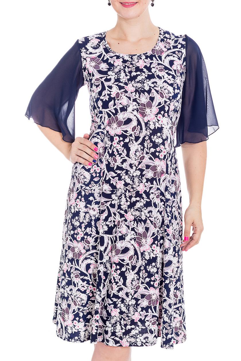 ПлатьеПлатья<br>Нарядное платье с круглой горловиной и шифоновыми рукавами до локтя. Модель выполнена из приятного трикотажа. Отличный выбор для любого случая.   В изделии использованы цвета: синий, белый  Рост девушки-фотомодели 180 см<br><br>Горловина: С- горловина<br>По длине: До колена<br>По материалу: Трикотаж,Шифон<br>По рисунку: С принтом,Цветные<br>По сезону: Весна,Зима,Лето,Осень,Всесезон<br>По силуэту: Полуприталенные<br>По стилю: Нарядный стиль<br>По форме: Платье - трапеция<br>Рукав: До локтя<br>Размер : 48<br>Материал: Холодное масло + Шифон<br>Количество в наличии: 1