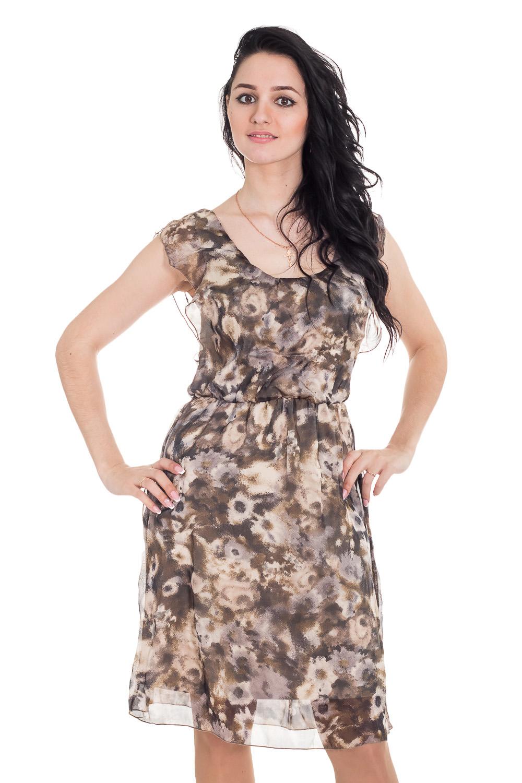 ПлатьеПлатья<br>Очаровательное, женственное платье без рукавов. Модель станет идеальным дополнением к Вашему повседневному гардеробу.  Цвет: коричневый, бежевый.  Рост девушки-фотомодели 170 см<br><br>По образу: Свидание,Город,Круиз<br>По стилю: Летний стиль,Повседневный стиль,Романтический стиль<br>По материалу: Трикотаж,Шифон<br>По рисунку: Растительные мотивы,С принтом,Цветные,Цветочные<br>По сезону: Лето<br>По силуэту: Полуприталенные<br>По элементам: С декором,С подкладом<br>По форме: Платье - трапеция<br>По длине: Ниже колена<br>Рукав: Без рукавов<br>Горловина: С- горловина<br>Размер: 44,46,48,50<br>Материал: 100% полиэстер<br>Количество в наличии: 4