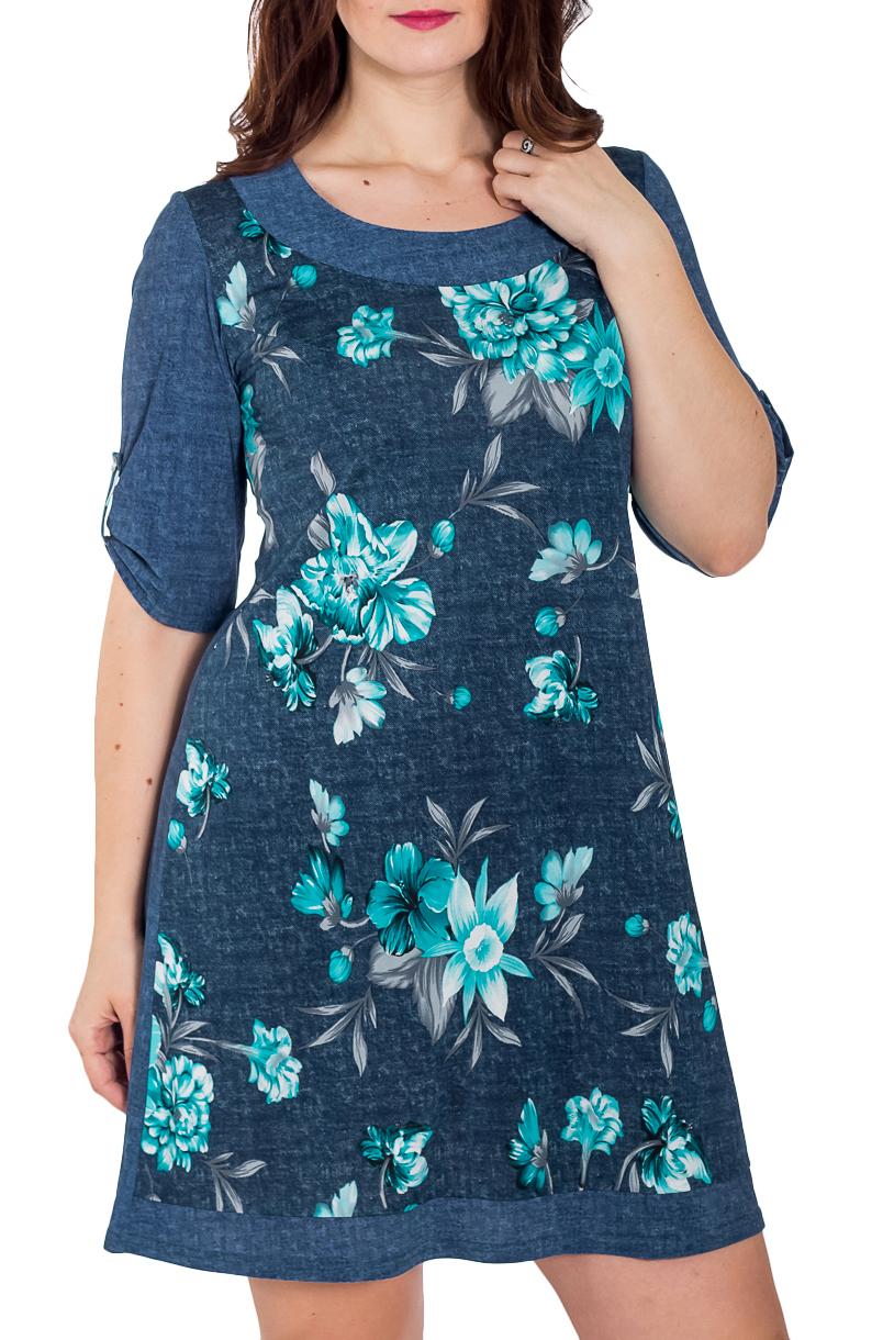 ПлатьеПлатья<br>Цветное платье с круглой горловиной и рукавами 3/4. Модель выполнена из приятного трикотажа. Отличный выбор для любого случая.   В изделии использованы цвета: синий, голубой  Рост девушки-фотомодели 180 см<br><br>Горловина: С- горловина<br>По длине: До колена<br>По материалу: Вискоза,Трикотаж<br>По рисунку: Растительные мотивы,С принтом,Цветные,Цветочные<br>По силуэту: Свободные<br>По стилю: Повседневный стиль<br>По форме: Платье - трапеция<br>По элементам: С патами<br>Рукав: До локтя<br>По сезону: Осень,Весна<br>Размер : 48,52<br>Материал: Холодное масло<br>Количество в наличии: 2