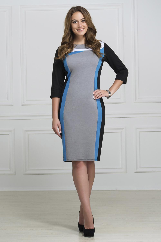 ПлатьеПлатья<br>Изящное платье полуприлегающего силуэта из фактурного трикотажа с контрастной отделкой.  В изделии использованы цвета: черный, серый, голубой  Рост девушки-фотомодели 173 см<br><br>Горловина: С- горловина<br>По длине: Ниже колена<br>По материалу: Вискоза,Трикотаж<br>По рисунку: Цветные<br>По силуэту: Приталенные<br>По стилю: Повседневный стиль<br>По форме: Платье - футляр<br>Рукав: Рукав три четверти<br>По сезону: Осень,Весна,Зима<br>Размер : 46,48,50,52<br>Материал: Трикотаж<br>Количество в наличии: 8