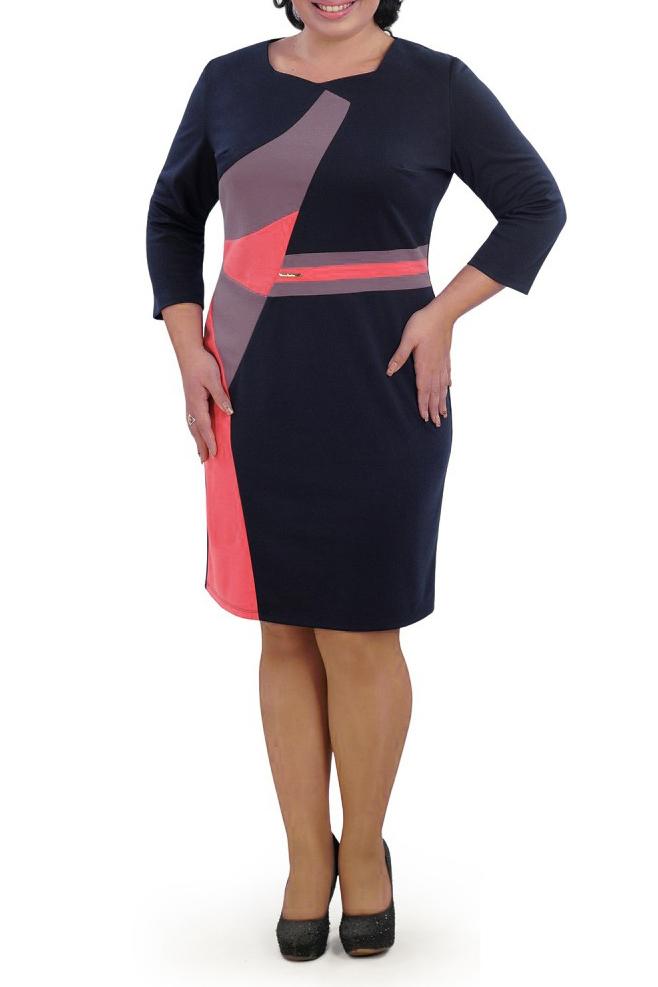 ПлатьеПлатья<br>Универсальное платье с контрастными вставками. Модель выполнена из приятного материала. Отличный выбор для любого случая.   В изделии использованы цвета: синий, коралловый, сиреневый  Параметры размеров: 44 размер - обхват груди 84 см., обхват талии 72 см., обхват бедер 97 см. 46 размер - обхват груди 92 см., обхват талии 76 см., обхват бедер 100 см. 48 размер - обхват груди 96 см., обхват талии 80 см., обхват бедер 103 см. 50 размер - обхват груди 100 см., обхват талии 84 см., обхват бедер 106 см. 52 размер - обхват груди 104 см., обхват талии 88 см., обхват бедер 109 см. 54 размер - обхват груди 110 см., обхват талии 94,5 см., обхват бедер 114 см. 56 размер - обхват груди 116 см., обхват талии 101 см., обхват бедер 119 см. 58 размер - обхват груди 122 см., обхват талии 107,5 см., обхват бедер 124 см. 60 размер - обхват груди 128 см., обхват талии 114 см., обхват бедер 129 см.  Ростовка изделия 168 см.<br><br>Горловина: Фигурная горловина<br>По длине: До колена<br>По материалу: Трикотаж<br>По рисунку: Цветные<br>По силуэту: Полуприталенные<br>По стилю: Повседневный стиль<br>По форме: Платье - футляр<br>Рукав: Рукав три четверти<br>По сезону: Осень,Весна,Зима<br>Размер : 48,50,54<br>Материал: Трикотаж<br>Количество в наличии: 3