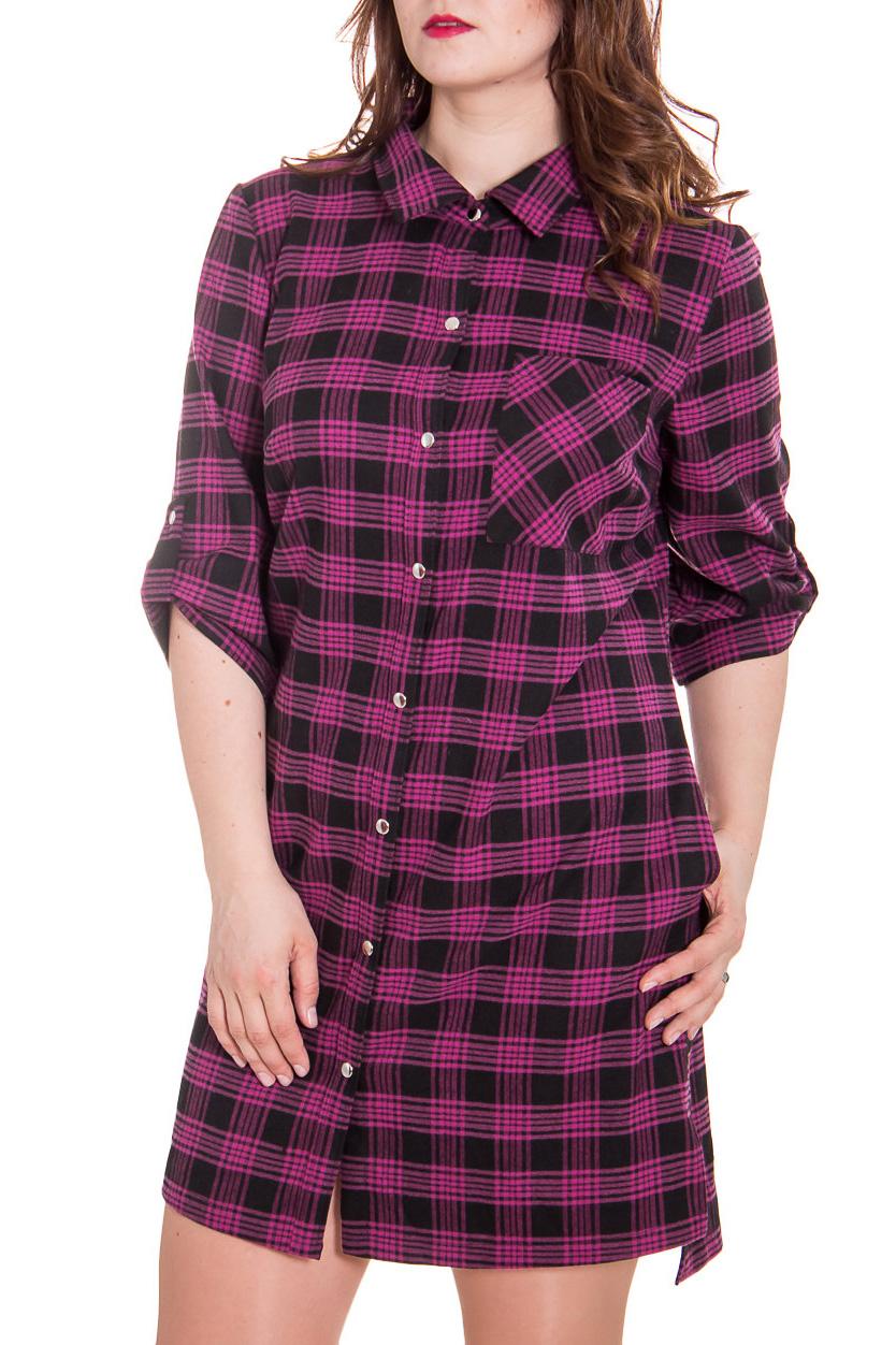 Платье - туникаПлатья<br>Ультрамодное платье рубашка это актуальная и женственная модель, которая добавит удобства любому образу  Цвет: малиново-фиолетовый, черный.  Рост девушки-фотомодели 180 см<br><br>Воротник: Рубашечный,Стояче-отложной<br>По длине: До колена,Мини<br>По материалу: Вискоза,Трикотаж<br>По образу: Город<br>По рисунку: В полоску,Цветные,Геометрия,С принтом<br>По сезону: Весна,Осень<br>По силуэту: Полуприталенные,Прямые<br>По стилю: Кэжуал,Молодежный стиль,Повседневный стиль,Ультрамодный стиль<br>По форме: Платье - рубашка<br>По элементам: С воротником,С карманами,С манжетами,С патами,С пуговицами,С фигурным низом<br>Рукав: Рукав три четверти<br>Размер : 56,58,60<br>Материал: Трикотаж<br>Количество в наличии: 1