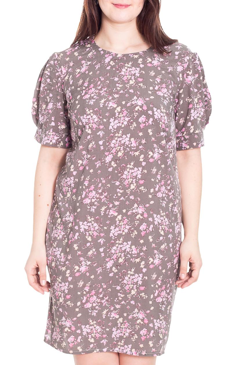 ПлатьеПлатья<br>Замечательное платье с круглой горловиной и короткими рукавами фонарик. Модель выполнена из приятного материала. Отличный выбор для повседневного гардероба.  Цвет: сиреневый, розовый, белый  Рост девушки-фотомодели 180 см.<br><br>Горловина: С- горловина<br>По материалу: Тканевые<br>По образу: Город,Свидание<br>По рисунку: Растительные мотивы,С принтом,Цветные,Цветочные<br>По сезону: Весна,Осень<br>По силуэту: Полуприталенные<br>По стилю: Повседневный стиль,Романтический стиль<br>По форме: Платье - футляр<br>Рукав: Короткий рукав<br>По длине: До колена<br>По элементам: С манжетами<br>Размер : 56<br>Материал: Плательная ткань<br>Количество в наличии: 1