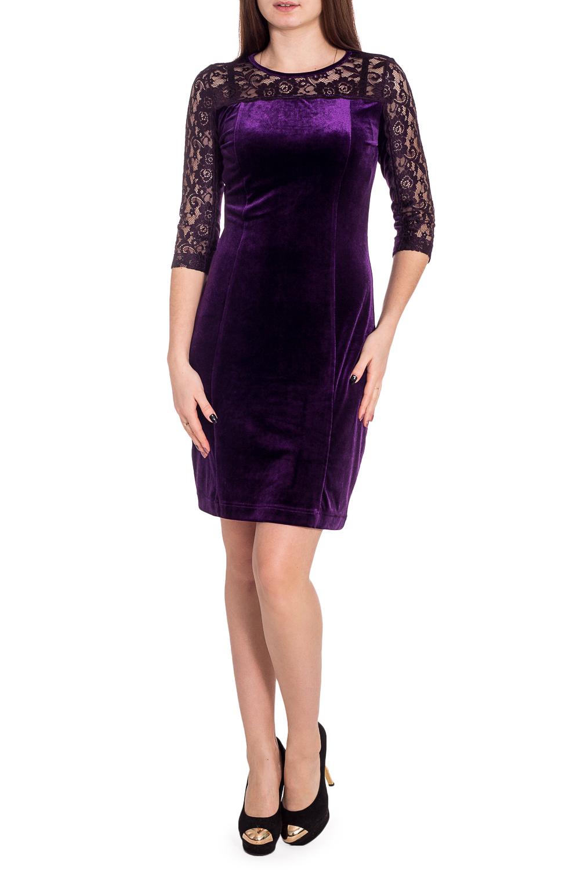 ПлатьеПлатья<br>Нарядное платье с кругой горловиной и рукавами 3/4. Модель выполнена из роскошного бархата и гипюра. Отличный выбор для любого торжества.  В изделии использованы цвета: фиолетовый  Рост девушки-фотомодели 173 см<br><br>Горловина: С- горловина<br>По длине: До колена<br>По материалу: Бархат,Гипюр<br>По образу: Выход в свет<br>По рисунку: Однотонные<br>По сезону: Весна,Зима,Лето,Осень,Всесезон<br>По силуэту: Приталенные<br>По стилю: Нарядный стиль<br>По форме: Платье - футляр<br>Рукав: Рукав три четверти<br>Размер : 44,46<br>Материал: Бархат + Гипюр<br>Количество в наличии: 2