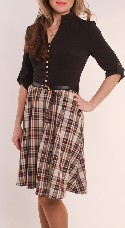 ПлатьеПлатья<br>Восхитительное платье с V-образным вырезом и рукавами 3/4. Модель выполнена из приятной ткани. Отличный выбор для повседневного и делового гардероба. Платье дополнено поясом.(цвет пояса может отличаться от изображенного)  Цвет: коричневый, бежевый  Длина изделия 92 см  Длина рукава 37 см   Рост девушки-фотомодели 163 см<br><br>По образу: Офис,Свидание,Город<br>По стилю: Офисный стиль,Повседневный стиль<br>По материалу: Вискоза,Тканевые<br>По рисунку: В полоску,Цветные<br>По сезону: Осень,Весна<br>По силуэту: Полуприталенные<br>По элементам: С декором,С отделочной фурнитурой,С патами,С пуговицами<br>По форме: Платье - трапеция<br>По длине: Ниже колена<br>Рукав: Рукав три четверти<br>Горловина: V- горловина<br>Размер: 44,46,48,50,52,54<br>Материал: 50% вискоза 50% полиэстер<br>Количество в наличии: 6