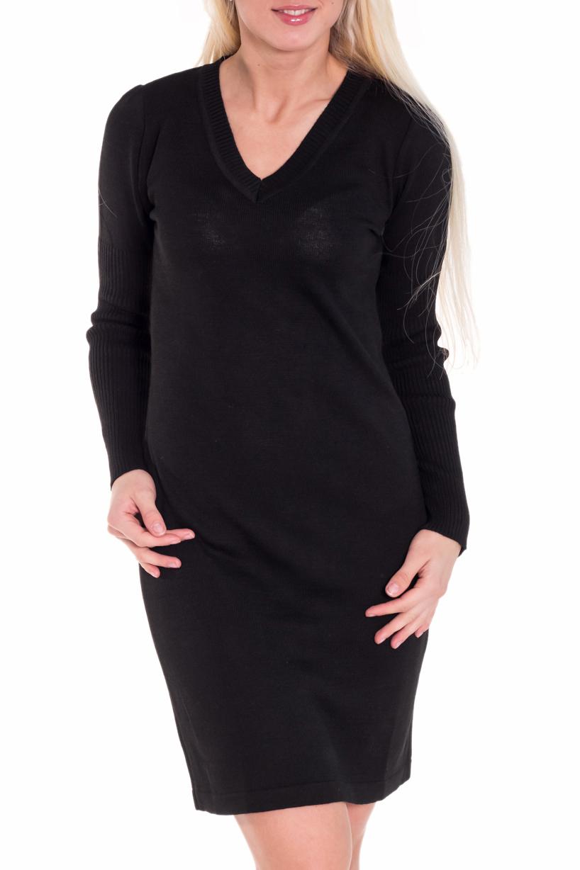 ПлатьеПлатья<br>Теплое платье с длинными рукавами и V-образной горловиной. Вязаный трикотаж - это красота, тепло и комфорт. В вязаных вещах очень легко оставаться женственной и в то же время не замёрзнуть.  Цвет: черный  Рост девушки-фотомодели 170 см.<br><br>Горловина: V- горловина<br>По длине: До колена<br>По материалу: Вязаные,Трикотаж<br>По рисунку: Однотонные<br>По силуэту: Полуприталенные<br>По стилю: Офисный стиль,Повседневный стиль<br>По форме: Платье - футляр<br>Рукав: Длинный рукав<br>По сезону: Зима<br>Размер : 42,44<br>Материал: Вязаное полотно<br>Количество в наличии: 4