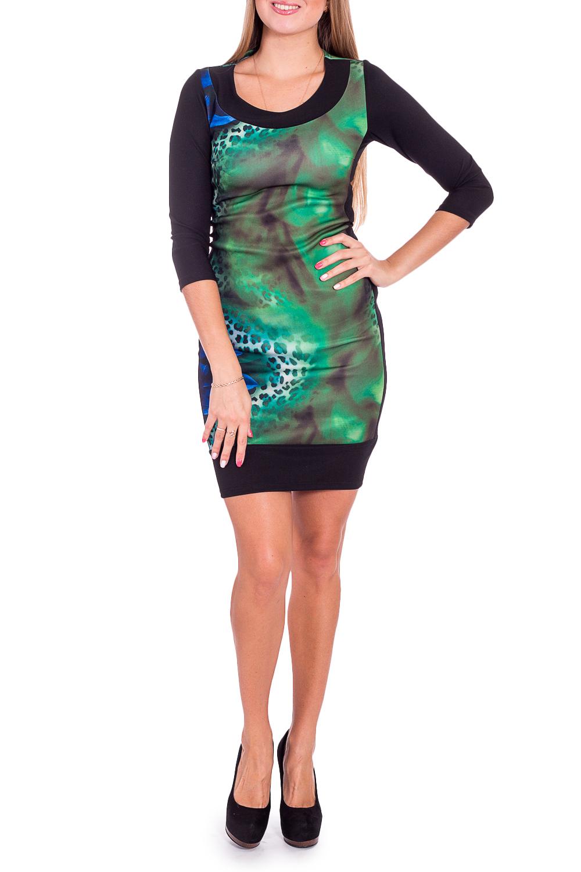 ПлатьеПлатья<br>Цветное платье обтягивающего силуэта. Модель выполнена из приятного трикотажа. Отличный выбор для повседневного гардероба.  В изделии использованы цвета: зеленый, синий, черный и др.  Рост девушки-фотомодели 170 см.<br><br>Горловина: С- горловина<br>По длине: До колена<br>По материалу: Вискоза,Трикотаж<br>По рисунку: С принтом,Цветные<br>По силуэту: Обтягивающие,Приталенные<br>По стилю: Повседневный стиль<br>По форме: Платье - футляр<br>Рукав: Рукав три четверти<br>По сезону: Осень,Весна,Зима<br>Размер : 46,48<br>Материал: Трикотаж<br>Количество в наличии: 2