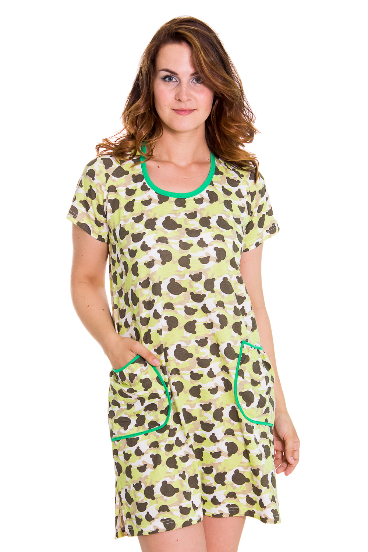 ПлатьеПлатья<br>Домашнее платье из хлопкового материала. Домашняя одежда, прежде всего, должна быть удобной, практичной и красивой. В наших изделиях Вы будете чувствовать себя комфортно, особенно, по вечерам после трудового дня.  Цвет: зеленый, белый  Рост девушки-фотомодели 180 см<br><br>Горловина: С- горловина<br>По длине: Миди<br>По материалу: Трикотажные,Хлопковые<br>По размеру: Маленькие размеры<br>По рисунку: Абстракция,Цветные<br>По сезону: Весна,Осень<br>По силуэту: Полуприталенные<br>По стилю: Возрастные,Молодежные<br>По форме: Платья<br>По элементам: С карманами<br>Рукав: Короткий рукав<br>Размер : 46-48<br>Материал: Хлопок<br>Количество в наличии: 1