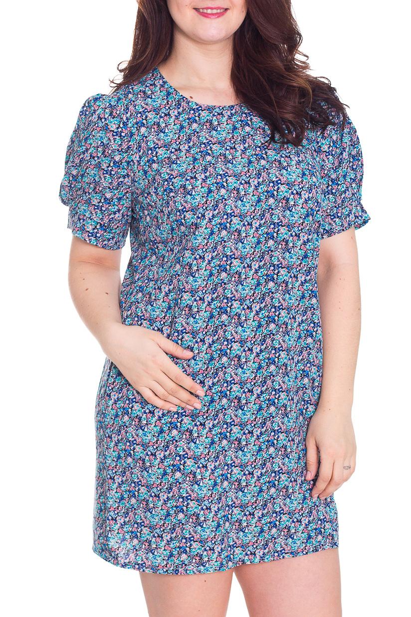 ПлатьеПлатья<br>Замечательное платье с круглой горловиной и короткими рукавами фонарик. Модель выполнена из приятного материала. Отличный выбор для повседневного гардероба.  Цвет: голубой, синий, розовый  Рост девушки-фотомодели 180 см.<br><br>Горловина: С- горловина<br>По длине: Мини,До колена<br>По материалу: Тканевые<br>По образу: Город,Свидание<br>По рисунку: С принтом,Цветные,Растительные мотивы,Цветочные<br>По сезону: Весна,Осень,Лето<br>По силуэту: Полуприталенные,Прямые<br>По стилю: Повседневный стиль<br>По форме: Платье - футляр<br>Рукав: Короткий рукав<br>Размер : 52<br>Материал: Плательная ткань<br>Количество в наличии: 1