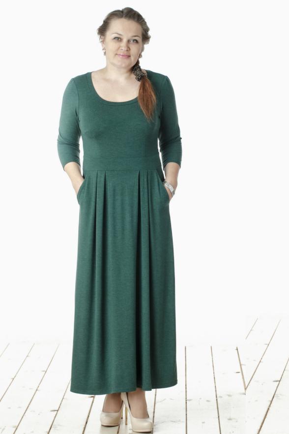 ПлатьеПлатья<br>Привлекательное женское платье в пол с круглой горловиной и рукавами 3/4. Модель выполнена из мягкого трикотажа. Отличный выбор для любого случая.  Цвет: зеленый  Длина изделия 128 см  Длина рукава 42 см   Рост девушки-фотомодели 165 см<br><br>Горловина: С- горловина<br>По длине: Макси<br>По материалу: Вискоза,Трикотаж<br>По образу: Город,Офис,Свидание<br>По рисунку: Однотонные<br>По сезону: Весна,Осень<br>По силуэту: Полуприталенные<br>По стилю: Офисный стиль,Повседневный стиль<br>По элементам: Со складками<br>Рукав: Рукав три четверти<br>Размер : 44,46,48,50,52,54,56<br>Материал: Трикотаж<br>Количество в наличии: 2