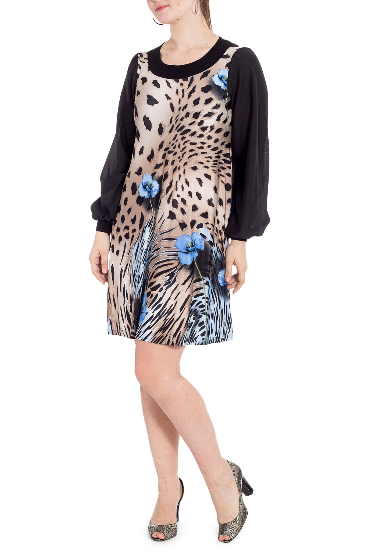 ПлатьеПлатья<br>Нарядное платье с круглой горловиной и длинными рукавами. Модель выполнена из приятного трикотажа с рукавами из шифона. Отличный выбор для любого случая.   В изделии использованы цвета: бежевый, черный и др.  Рост девушки-фотомодели 180 см<br><br>Горловина: С- горловина<br>По длине: До колена<br>По материалу: Вискоза,Трикотаж<br>По рисунку: Животные мотивы,Леопард,Растительные мотивы,С принтом,Цветные,Цветочные<br>По сезону: Весна,Зима,Лето,Осень,Всесезон<br>По силуэту: Свободные<br>По стилю: Нарядный стиль<br>По форме: Платье - трапеция<br>По элементам: С манжетами<br>Рукав: Длинный рукав<br>Размер : 46<br>Материал: Холодное масло<br>Количество в наличии: 1