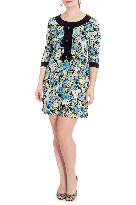 ПлатьеПлатья<br>Цветное платье полуприталенного силуэта с контрастной отделкой. Модель выполнена из приятного трикотажа. Отличный выбор для повседневного гардероба.  В изделии использованы цвета: голубой, зеленый, черный и др.  Рост девушки-фотомодели 180 см.<br><br>Горловина: С- горловина<br>По длине: До колена<br>По материалу: Вискоза,Трикотаж<br>По образу: Город,Свидание<br>По рисунку: Растительные мотивы,С принтом,Цветные,Цветочные<br>По силуэту: Приталенные<br>По стилю: Повседневный стиль<br>По форме: Платье - футляр<br>По элементам: С декором,С манжетами<br>Рукав: Рукав три четверти<br>По сезону: Осень,Весна,Зима<br>Размер : 46,48,52<br>Материал: Трикотаж<br>Количество в наличии: 3