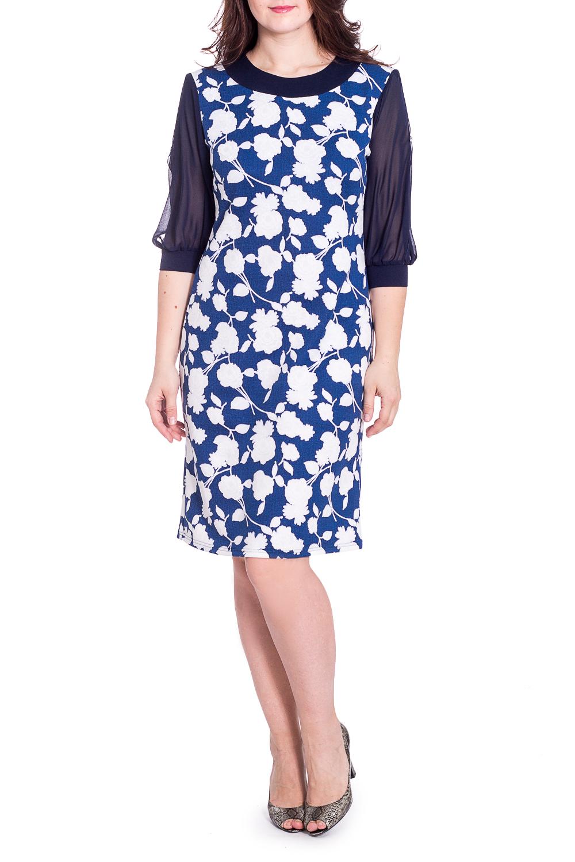 ПлатьеПлатья<br>Нарядное платье с круглой горловиной и рукавами 3/4. Модель выполнена из приятного трикотажа с рукавами из шифона. Отличный выбор для любого случая.   В изделии использованы цвета: синий, белый  Рост девушки-фотомодели 180 см<br><br>Горловина: С- горловина<br>По длине: До колена<br>По материалу: Вискоза,Трикотаж<br>По образу: Свидание<br>По рисунку: Растительные мотивы,С принтом,Цветные,Цветочные<br>По сезону: Весна,Зима,Лето,Осень,Всесезон<br>По силуэту: Полуприталенные<br>По стилю: Нарядный стиль<br>По форме: Платье - футляр<br>По элементам: С манжетами<br>Рукав: Рукав три четверти<br>Размер : 52,54,56<br>Материал: Трикотаж + Шифон<br>Количество в наличии: 3