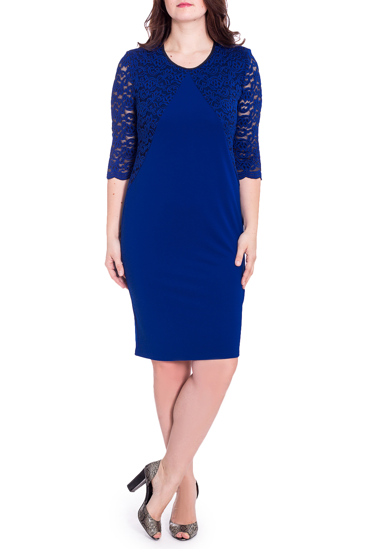 ПлатьеПлатья<br>Нарядное женское платье с круглой горловиной и рукавами 3/4. Модель выполнена из приятного трикотажа и гипюра. Отличный выбор для повседневного гардероба.  В изделии использованы цвета: синий  Рост девушки-фотомодели 180 см<br><br>Горловина: С- горловина<br>По длине: Ниже колена<br>По материалу: Гипюр,Трикотаж<br>По рисунку: Однотонные<br>По сезону: Весна,Зима,Лето,Осень,Всесезон<br>По силуэту: Приталенные<br>По стилю: Нарядный стиль<br>По форме: Платье - футляр<br>Рукав: Рукав три четверти<br>Размер : 48,54<br>Материал: Трикотаж<br>Количество в наличии: 2