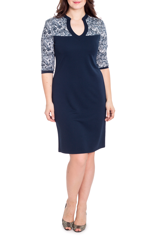 ПлатьеПлатья<br>Замечательное женское платье с фигурной горловиной и рукавами 3/4. Модель выполнена из приятного трикотажа. Отличный выбор для повседневного гардероба.  В изделии использованы цвета: синий, белый  Рост девушки-фотомодели 180 см<br><br>Горловина: Фигурная горловина<br>По длине: До колена<br>По материалу: Вискоза,Трикотаж<br>По рисунку: С принтом,Цветные<br>По силуэту: Приталенные<br>По стилю: Повседневный стиль<br>По форме: Платье - футляр<br>Рукав: Рукав три четверти<br>По сезону: Осень,Весна,Зима<br>Размер : 52<br>Материал: Трикотаж<br>Количество в наличии: 1
