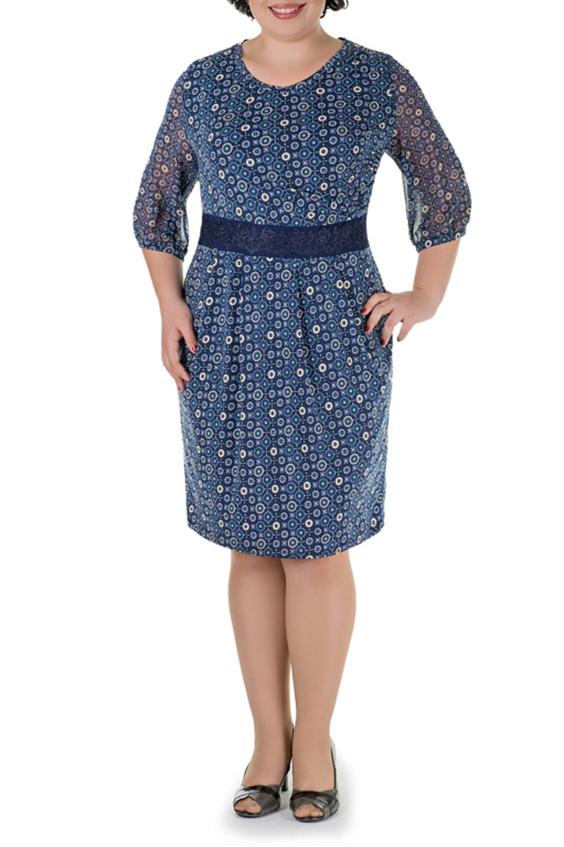 ПлатьеПлатья<br>Нарядное платье с рукавами 3/4. Модель выполнена из приятного материала. Отличный выбор для любого случая.   В изделии использованы цвета: синий, голубой и др.  Параметры размеров: 44 размер - обхват груди 84 см., обхват талии 72 см., обхват бедер 97 см. 46 размер - обхват груди 92 см., обхват талии 76 см., обхват бедер 100 см. 48 размер - обхват груди 96 см., обхват талии 80 см., обхват бедер 103 см. 50 размер - обхват груди 100 см., обхват талии 84 см., обхват бедер 106 см. 52 размер - обхват груди 104 см., обхват талии 88 см., обхват бедер 109 см. 54 размер - обхват груди 110 см., обхват талии 94,5 см., обхват бедер 114 см. 56 размер - обхват груди 116 см., обхват талии 101 см., обхват бедер 119 см. 58 размер - обхват груди 122 см., обхват талии 107,5 см., обхват бедер 124 см. 60 размер - обхват груди 128 см., обхват талии 114 см., обхват бедер 129 см.  Ростовка изделия 168 см.<br><br>Горловина: С- горловина<br>По длине: Ниже колена<br>По материалу: Тканевые,Шифон<br>По рисунку: С принтом,Цветные<br>По сезону: Весна,Зима,Лето,Осень,Всесезон<br>По силуэту: Полуприталенные<br>По стилю: Нарядный стиль,Повседневный стиль<br>По элементам: С декором<br>Рукав: Рукав три четверти<br>Размер : 50,52,56<br>Материал: Плательная ткань + Шифон<br>Количество в наличии: 3