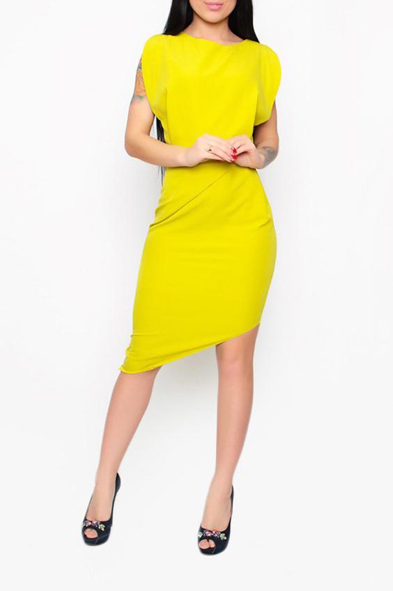 ПлатьеПлатья<br>Яркое женское платье с фигурным подолом. Модель выполнена из хлопкового материала. Отличный выбор для любого случая.  Цвет: желтый  Ростовка изделия 170 см.<br><br>Горловина: С- горловина<br>По длине: Ниже колена<br>По материалу: Тканевые,Хлопок<br>По образу: Город,Свидание<br>По рисунку: Однотонные<br>По силуэту: Приталенные<br>По стилю: Повседневный стиль<br>По форме: Платье - футляр<br>По элементам: С молнией,С отделочной фурнитурой,С открытой спиной<br>Рукав: Короткий рукав<br>По сезону: Лето<br>Размер : 42,44<br>Материал: Плательная ткань<br>Количество в наличии: 2