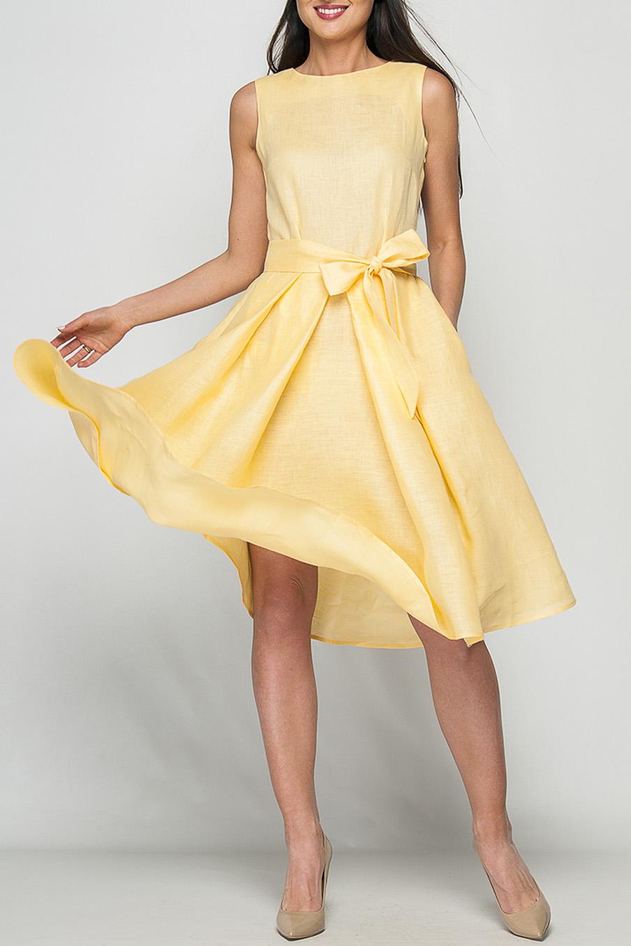 ПлатьеПлатья<br>Элегантное женское платье расклешенного кроя, длина ниже колена, линию талии подчеркнет эффектный декоративный пояс, потайная застежка - молния в боковом шве, в боковых складках юбки спрятаны карманы.  Цвет: желтый  Рост девушки-фотомодели 175 см<br><br>Горловина: С- горловина<br>По длине: Ниже колена<br>По материалу: Лен<br>По рисунку: Однотонные<br>По силуэту: Полуприталенные,Свободные<br>По стилю: Летний стиль,Повседневный стиль<br>По форме: Платье - трапеция<br>По элементам: С декором,С карманами,С молнией,Со складками<br>Рукав: Без рукавов<br>По сезону: Лето<br>Размер : 42<br>Материал: Лен<br>Количество в наличии: 1