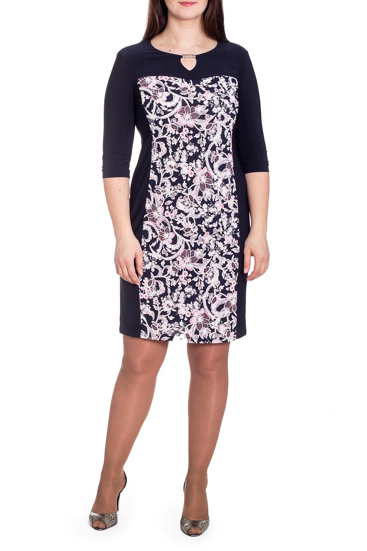 ПлатьеПлатья<br>Цветное платье с круглой горловиной и рукавами 3/4. Модель выполнена из приятного трикотажа. Отличный выбор для любого случая.   В изделии использованы цвета: темно-синий, белый, розовый  Рост девушки-фотомодели 180 см.<br><br>Горловина: С- горловина<br>По длине: До колена<br>По материалу: Вискоза,Трикотаж<br>По рисунку: Растительные мотивы,С принтом,Цветные,Цветочные<br>По силуэту: Приталенные<br>По стилю: Повседневный стиль<br>По форме: Платье - футляр<br>По элементам: С декором<br>Рукав: Рукав три четверти<br>По сезону: Осень,Весна<br>Размер : 48<br>Материал: Холодное масло<br>Количество в наличии: 1