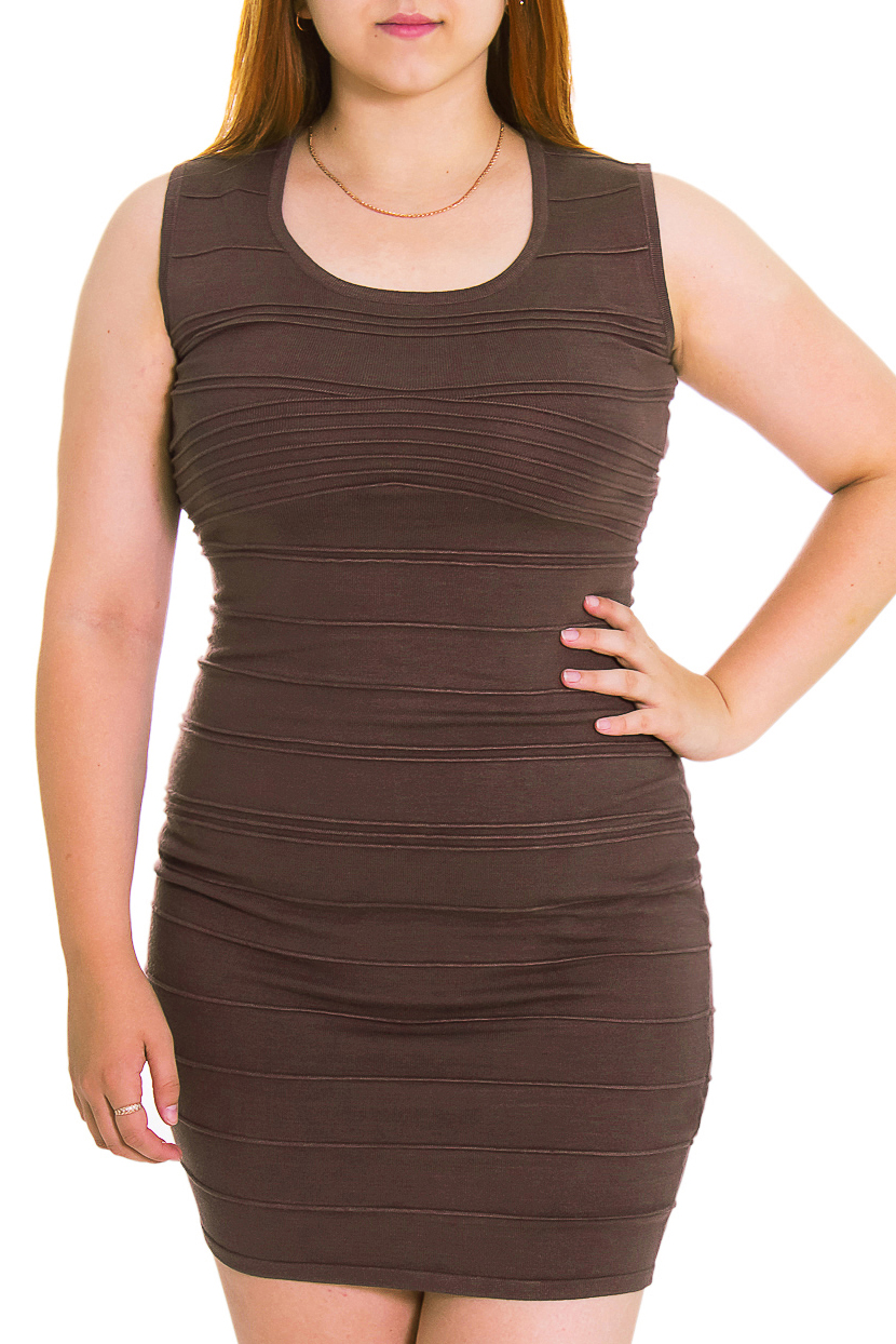 ПлатьеПлатья<br>Женское платье без рукавов. Модель выполнена из вязаного трикотажа. Вязаный трикотаж - это красота, тепло и комфорт. В вязаных вещах очень легко оставаться женственной и в то же время не замёрзнуть.  Цвет: коричневый  Рост девушки-фотомодели - 169 см<br><br>Горловина: С- горловина<br>По длине: До колена<br>По материалу: Вязаные,Трикотаж<br>По рисунку: Однотонные<br>По сезону: Весна,Осень<br>По силуэту: Обтягивающие<br>По стилю: Офисный стиль,Повседневный стиль<br>Рукав: Без рукавов<br>Размер : 48<br>Материал: Вязаное полотно<br>Количество в наличии: 2