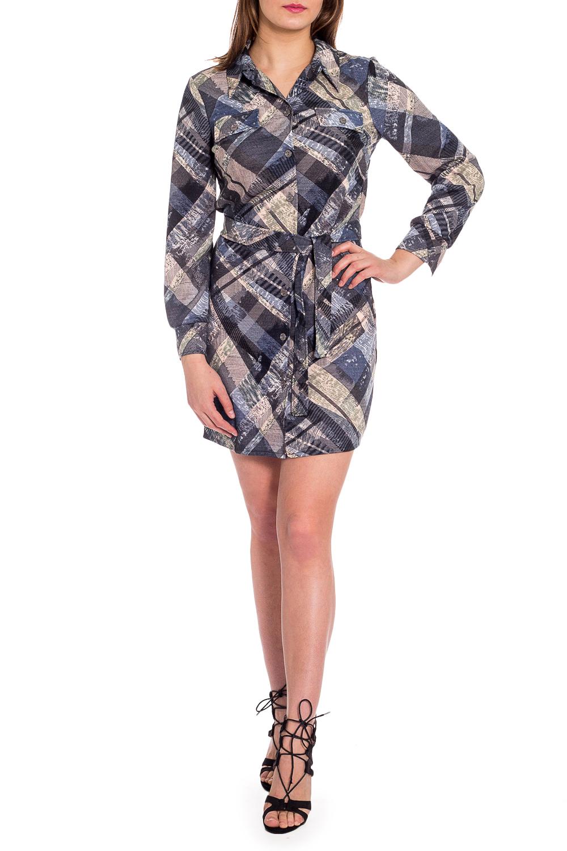 ПлатьеПлатья<br>Цветное платье-рубашка с длинными рукавами. Модель выполнена из плотного трикотажа. Отличный выбор для повседневного гардероба.  Платье без пояса.  В изделии использованы цвета: бежевый, синий, серый и др.  Рост девушки-фотомодели 173 см.<br><br>Воротник: Рубашечный<br>По длине: До колена<br>По материалу: Трикотаж<br>По рисунку: С принтом,Цветные<br>По сезону: Зима,Осень,Весна<br>По силуэту: Полуприталенные<br>По стилю: Повседневный стиль<br>По форме: Платье - рубашка<br>По элементам: С манжетами,С пуговицами<br>Рукав: Длинный рукав<br>Размер : 44,46<br>Материал: Трикотаж<br>Количество в наличии: 4