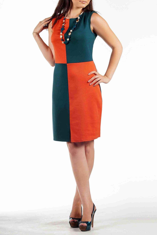 ПлатьеПлатья<br>Стильное платье с эффектным передом надолго запомнится окружающим. Яркие, однотонные, геометричные вставки сошли с подиумов и воплотились в этом платье, в то время как цельная однотонная спинка добавляет практичности.   Длина:   до 48 размеры -  95 см.  после 50 размера - 100 см.   Цвет: морская волна, оранжевый.<br><br>Горловина: С- горловина<br>По длине: До колена<br>По материалу: Трикотаж<br>По образу: Город,Свидание<br>По рисунку: Цветные<br>По сезону: Весна,Осень,Лето<br>По силуэту: Полуприталенные,Приталенные<br>По стилю: Повседневный стиль,Кэжуал<br>По форме: Платье - футляр<br>Рукав: Без рукавов<br>Размер : 46,48,50,52,54<br>Материал: Трикотаж<br>Количество в наличии: 9