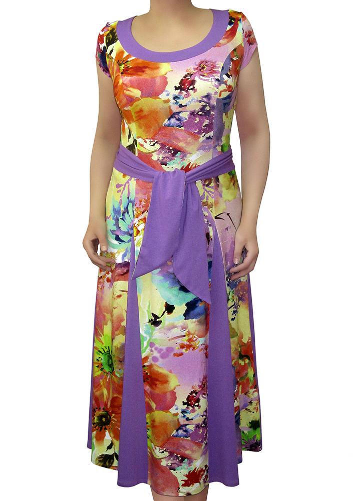 ПлатьеПлатья<br>Женское платье из высококачественной вискозы с акварельным принтом. Крупный рисунок с яркими эффектными цветами. Длинное приталенное платье, расклешенное к низу за счет вставленных клиньев однотонного сиреневого цвета, вставками такого же цвета отделана горловина изделия и одна из сторон широкого пояса. Рукава короткие.   Цвет: желтый, оранжевый, сиреневый<br><br>Горловина: С- горловина<br>По длине: Миди<br>По материалу: Вискоза,Трикотаж<br>По рисунку: Растительные мотивы,С принтом,Цветные,Цветочные<br>По силуэту: Полуприталенные<br>По стилю: Повседневный стиль<br>По элементам: С декором<br>Рукав: Короткий рукав<br>По сезону: Лето<br>По форме: Платье - трапеция<br>Размер : 44<br>Материал: Вискоза<br>Количество в наличии: 3