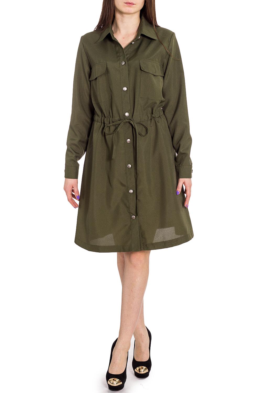 ПлатьеПлатья<br>Эффектно, просто и удобно - вот девиз данного платья-рубашки Отложной воротник на стойке, планка, нагрудные кармашки, рукав на манжете, декор металлизированными пуговицами, регулировка пояса - шнур с наконечниками. Сильно и стильно. Отличный образ на каждый день  Цвет: зеленый  Рост девушки-фотомодели 173 см<br><br>Воротник: Рубашечный<br>По длине: До колена<br>По материалу: Костюмные ткани,Тканевые<br>По рисунку: Однотонные<br>По силуэту: Полуприталенные<br>По стилю: Офисный стиль,Повседневный стиль,Сафари<br>По форме: Платье - рубашка,Платье - трапеция<br>По элементам: С карманами,С кнопками,С манжетами,С поясом<br>Рукав: Длинный рукав<br>По сезону: Осень,Весна<br>Размер : 46,48,50<br>Материал: Костюмно-плательная ткань<br>Количество в наличии: 3