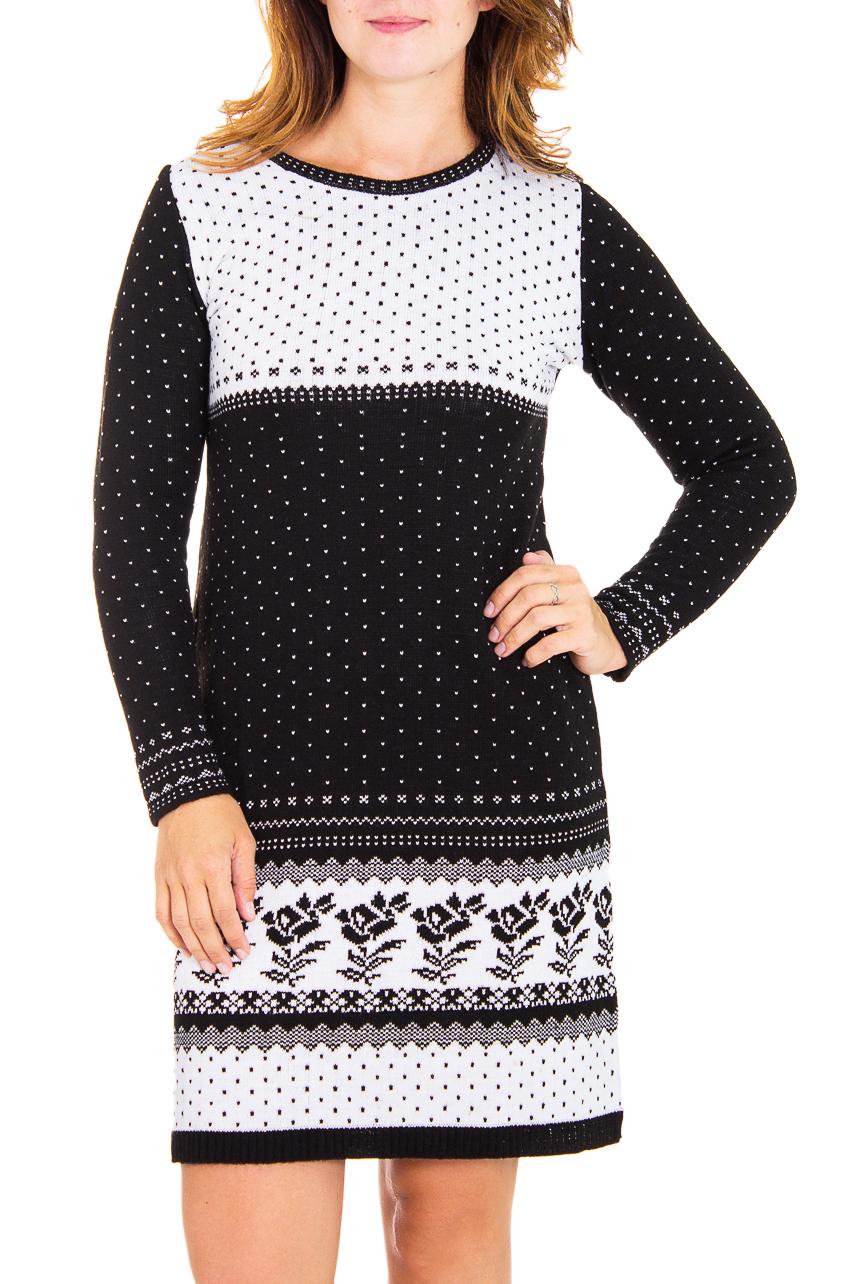 ПлатьеПлатья<br>Женское платье с длинными рукавами из вязанного трикотажа. Вязаный трикотаж - это красота, тепло и комфорт. В вязаных вещах очень легко оставаться женственной и в то же время не замёрзнуть.  Цвет: черный, белый, серый  Рост девушки-фотомодели 180 см<br><br>Горловина: С- горловина<br>По длине: До колена<br>По материалу: Вязаные,Трикотаж<br>По образу: Город,Офис,Свидание<br>По рисунку: В горошек,Растительные мотивы,Цветные,Цветочные<br>По силуэту: Полуприталенные<br>По стилю: Офисный стиль,Повседневный стиль<br>Рукав: Длинный рукав<br>По сезону: Зима<br>Размер : 44,46<br>Материал: Вязаное полотно<br>Количество в наличии: 3