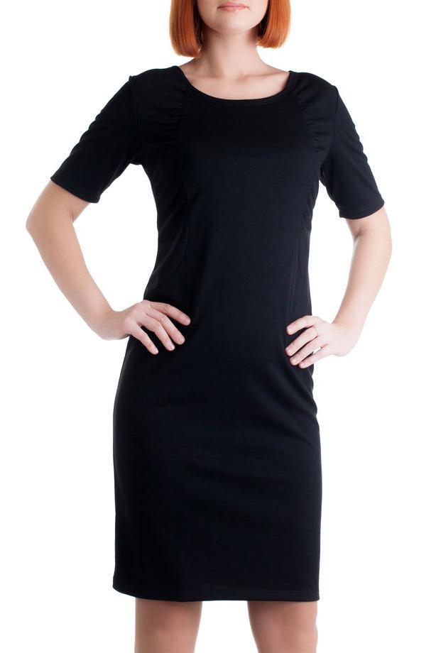 ПлатьеПлатья<br>Женское платье с круглой горловиной и коротким рукавом. Модель выполнена из приятного трикотажа. Отличный выбор для повседневного и делового гардероба.  Цвет: черный<br><br>Горловина: С- горловина<br>По материалу: Вискоза,Трикотаж<br>По образу: Город,Офис<br>По рисунку: Однотонные<br>По сезону: Весна,Осень<br>По силуэту: Полуприталенные,Приталенные<br>Рукав: Короткий рукав,До локтя<br>По стилю: Офисный стиль,Повседневный стиль,Классический стиль,Кэжуал<br>По длине: До колена<br>По форме: Платье - футляр<br>Размер : 48,50<br>Материал: Джерси<br>Количество в наличии: 6